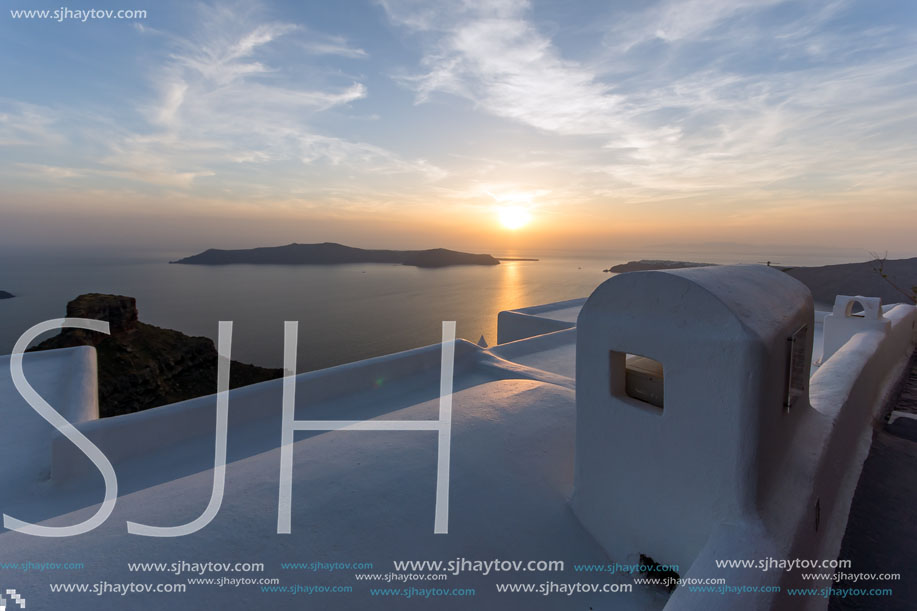 Sunset Landscape, Town of Imerovigli, Santorini, Thira, Cyclades