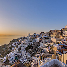 Sunset in Town of Oia, Santorini, Tira Island, Cyclades