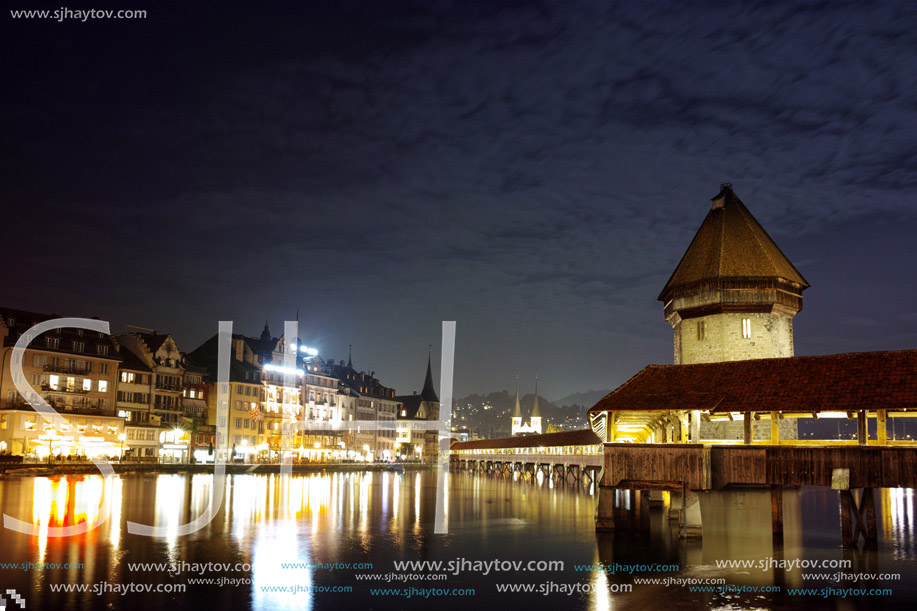 Night photos of Chapel Bridge in City of Lucern, Canton of Lucerne, Switzerland
