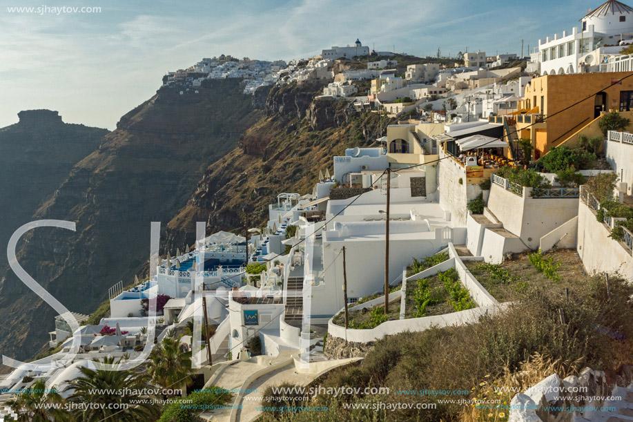 Panoramic view to towns of Imerovigli and Firostefani, Santorini island, Thira, Cyclades, Greece
