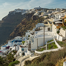 Panoramic view to towns of Imerovigli and Firostefani, Santorini island, Thira, Cyclades, Greece