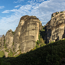 Amazing view of Rock Pillars and Holy Monasteries of Varlaam and St. Nicholas Anapausas  in Meteora, Thessaly, Greece