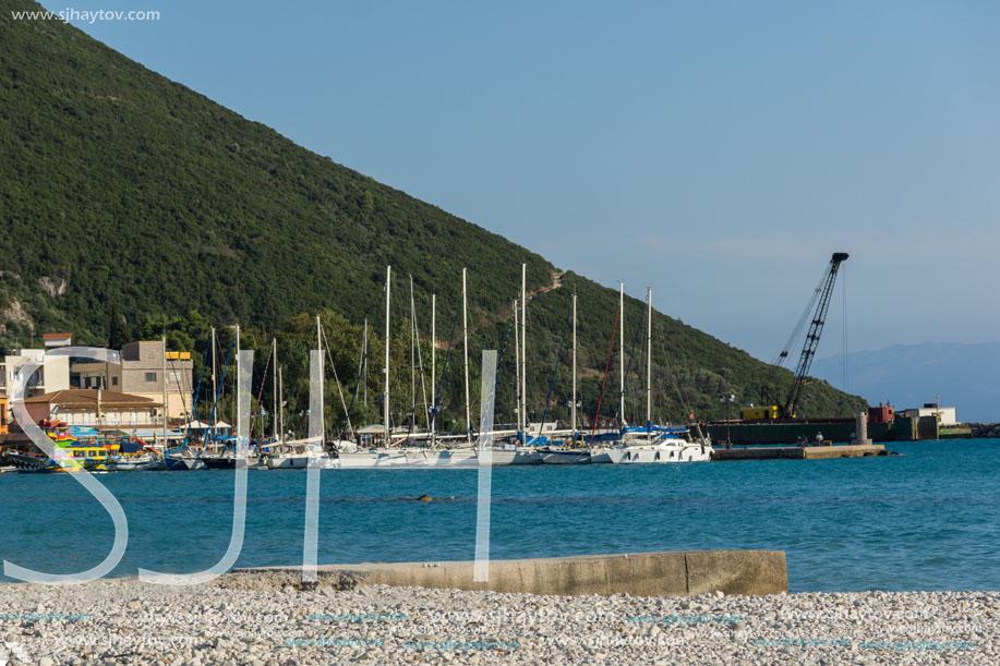 VASILIKI, LEFKADA, GREECE JULY 16, 2014: Panoramic view of Village of Vasiliki, Lefkada, Ionian Islands, Greece