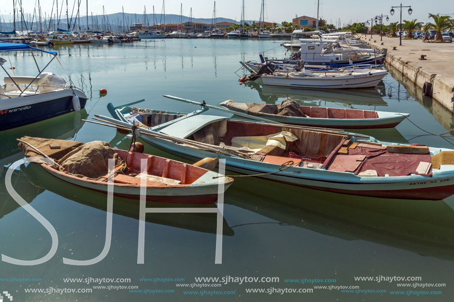 LEFKADA TOWN, GREECE JULY 17, 2014: yacht harbor at Lefkada town, Ionian Islands, Greece