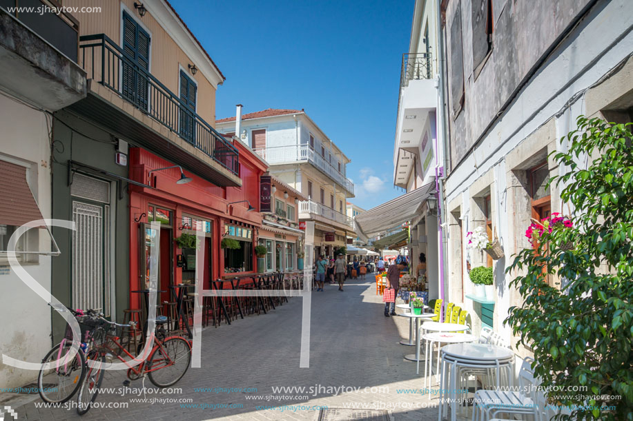 LEFKADA TOWN, GREECE JULY 17, 2014: Houses and street in Lefkada town, Ionian Islands, Greece