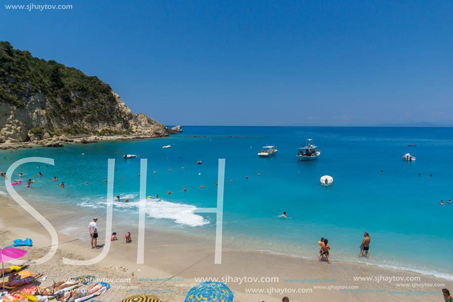 AGIOS NIKITAS, LEFKADA, GREECE - JULY 16, 2014: Tourist visiting beach of village of Agios Nikitas, Lefkada, Ionian Islands, Greece