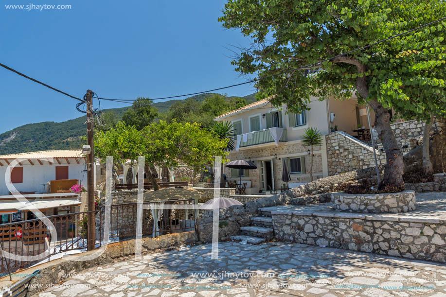 AGIOS NIKITAS, LEFKADA, GREECE - JULY 16, 2014: Traditional houses in village of Agios Nikitas, Lefkada, Ionian Islands, Greece