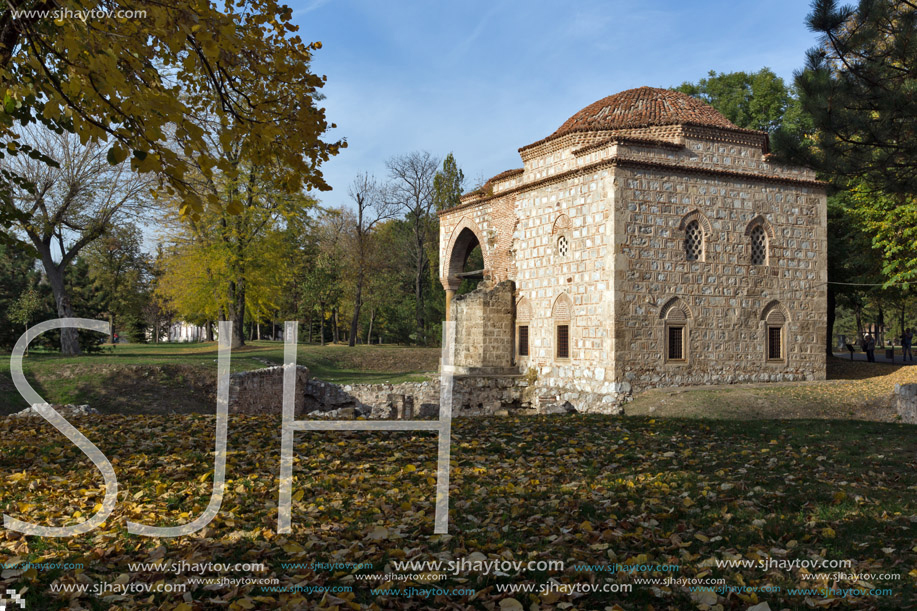 NIS, SERBIA- OCTOBER 21, 2017: Sunset view of Bali Beg Mosque in Fortress of City of Nis, Serbia
