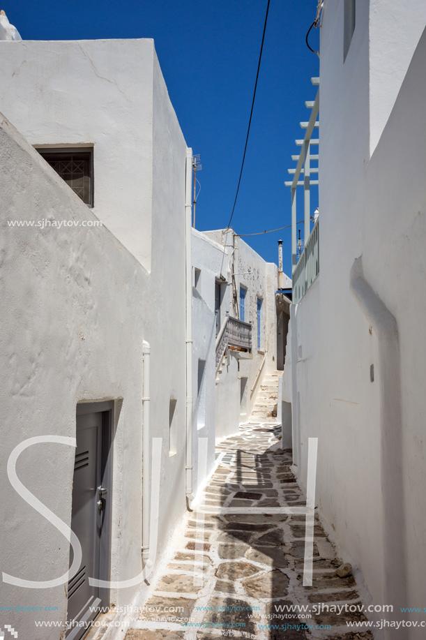 Typical white house in town of Parakia, Paros island, Cyclades, Greece