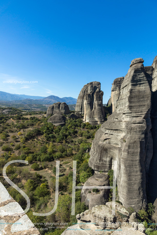 Amazing landscape of Rocks formation near Meteora, Thessaly, Greece