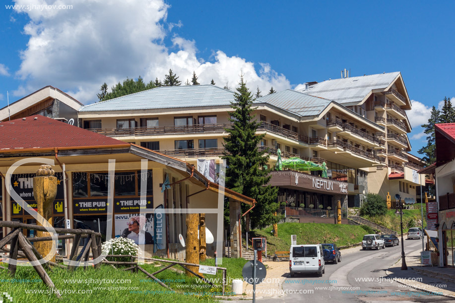 PAMPOROVO, BULGARIA - AUGUST 14, 2018: Summer view of Ski resort Pamporovo in Rhodope Mountains, Smolyan Region, Bulgaria