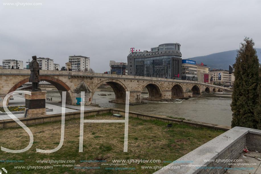 SKOPJE, REPUBLIC OF MACEDONIA - FEBRUARY 24, 2018:  Skopje City Center, Old Stone Bridge and Vardar River, Republic of Macedonia