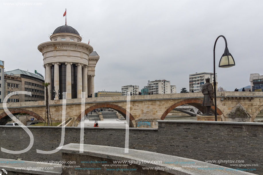 SKOPJE, REPUBLIC OF MACEDONIA - FEBRUARY 24, 2018:  Skopje City Center, Old Stone Bridge and Archaeological Museum, Republic of Macedonia