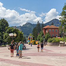 SMOLYAN, BULGARIA - AUGUST 14, 2018: Summer view of Old Center of the town of Smolyan, Bulgaria