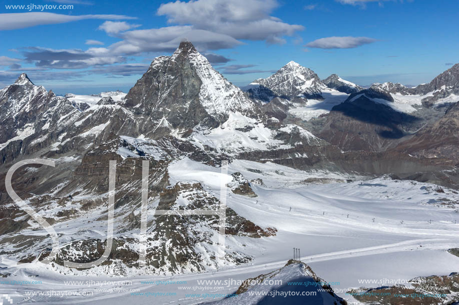 Amazing Winter view of mount Matterhorn covered with clouds, Canton of Valais, Alps, Switzerland