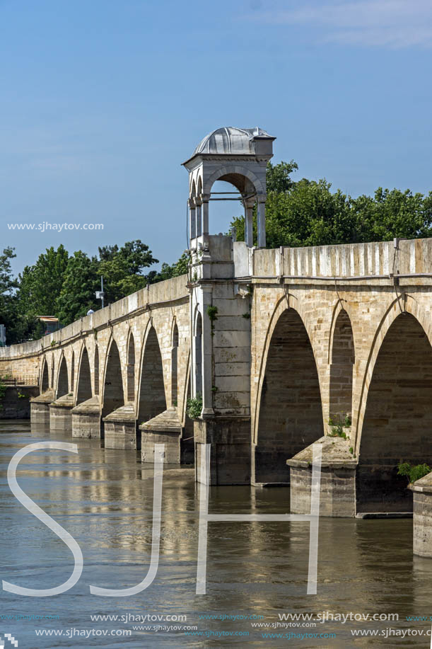 Medieval Bridge from period of Ottoman Empire over Meric River in city of Edirne,  East Thrace, Turkey
