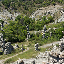 Rock formation The Stone Dolls of Kuklica near town of Kratovo, Republic of Macedonia