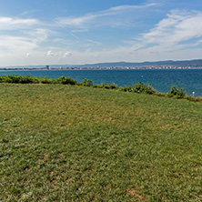 NESSEBAR, BULGARIA - AUGUST 12, 2018:  Panorama from coastline of Nessebar to resorts of Sunny Beach, St. Vlas and Elenite, Burgas Region, Bulgaria