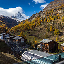 ZERMATT, SWITZERLAND - OCTOBER 27, 2015: Amazing Autumn panorama to Zermatt Resort, Alps, Switzerland