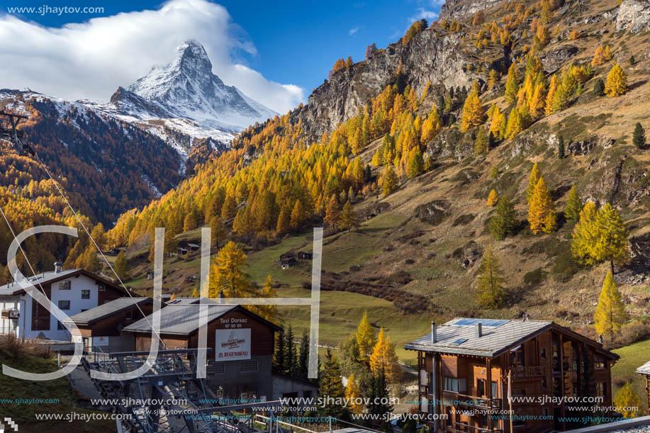 ZERMATT, SWITZERLAND - OCTOBER 27, 2015: Amazing Autumn panorama to Zermatt Resort, Alps, Switzerland