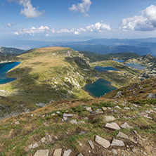 Summer view of The Kidney, The Twin, The Trefoil, The Fish and The Lower lakes, Rila Mountain, The Seven Rila Lakes, Bulgaria