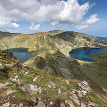 Summer view of The Eye and The Kidney Lakes, Rila Mountain, The Seven Rila Lakes, Bulgaria