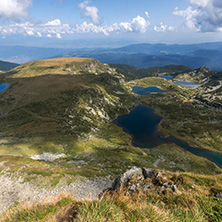 Summer view of The Kidney, The Twin, The Trefoil, The Fish and The Lower Lakes , Rila Mountain, The Seven Rila Lakes, Bulgaria