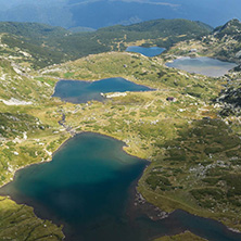 Summer view of The Twin, The Trefoil The Fish and The Lower Lakes, Rila Mountain, The Seven Rila Lakes, Bulgaria