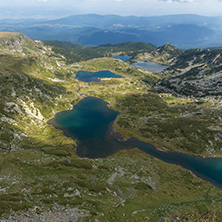 Summer view of The Twin, The Trefoil, The Fish and The Lower lakes, Rila Mountain, The Seven Rila Lakes, Bulgaria