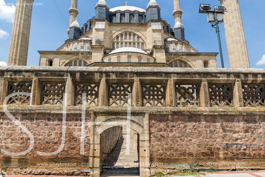 Architectural detail of Built by architect Mimar Sinan between 1569 and 1575 Selimiye Mosque  in city of Edirne,  East Thrace, Turkey