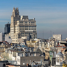 MADRID, SPAIN - JANUARY 24, 2018:  Amazing Panoramic view of city of Madrid from Circulo de Bellas Artes, Spain