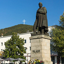 BLAGOEVGRAD, BULGARIA - OCTOBER 6, 2018: Gotse Delchev monument at The Center of town of Blagoevgrad, Bulgaria