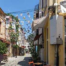KAPANA, PLOVDIV, BULGARIA - JULY 5, 2018:  Street and houses in district Kapana, city of Plovdiv, Bulgaria