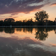 Amazing sunset view of Rowing Venue in city of Plovdiv, Bulgaria